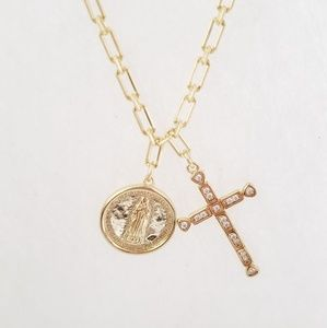 Jewelry - Cross necklace 925Sterling silver, gold jewelry